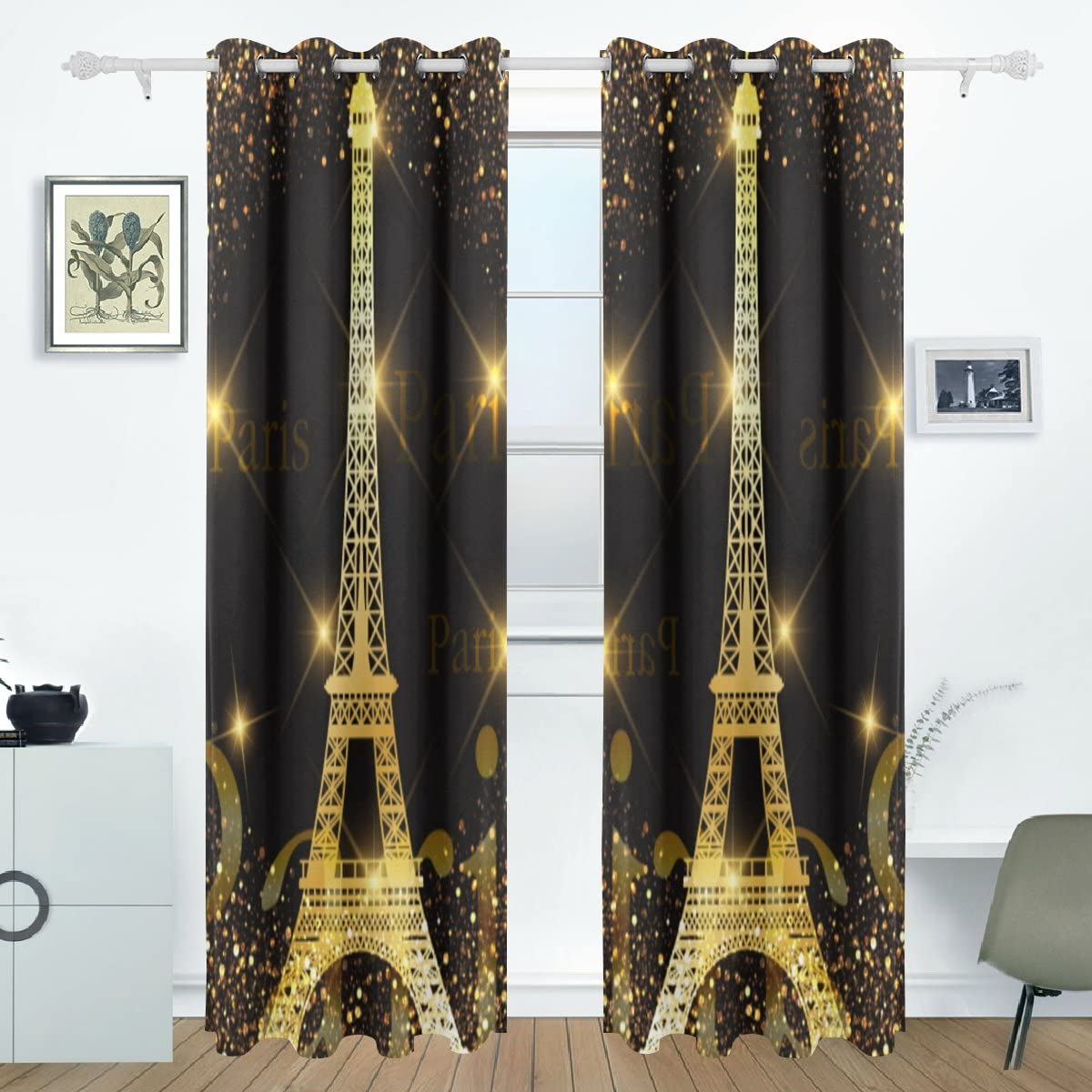 ALAZA Paris Gold Eiffel Tower Window Curtains Blackout Curtains with Grommet for Bedroom Living Room Single-Sided Printing 84×55 Inch Two Panels