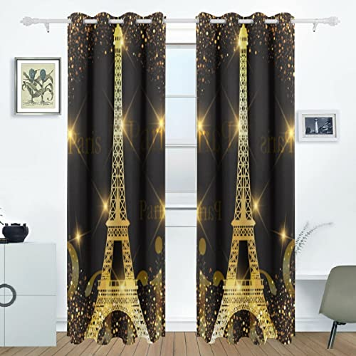 ALAZA Paris Gold Eiffel Tower Window Curtains Blackout Curtain