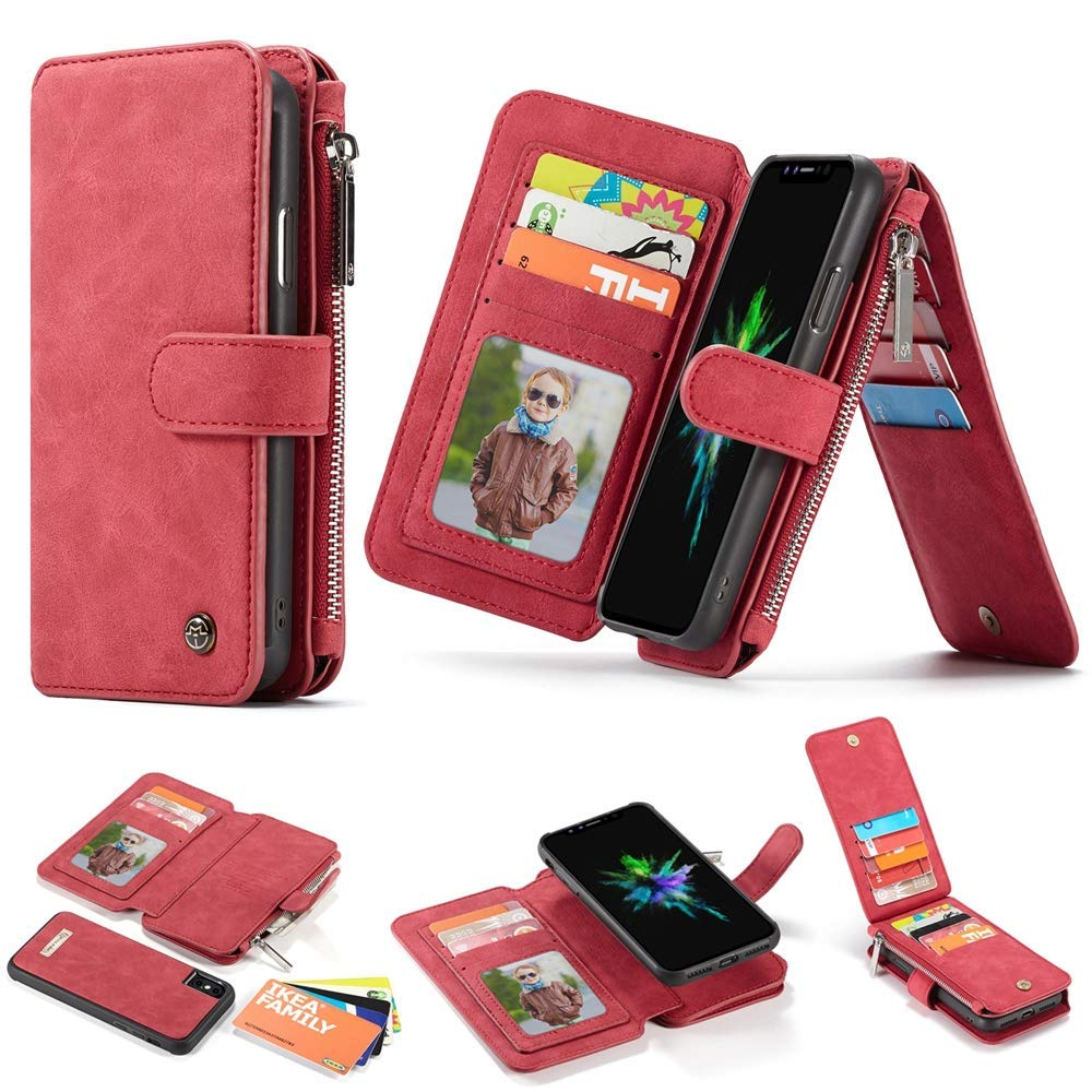 Case for iPhone XS MAX,Locase XS MAX Zipper Wallet Case with Hand Strap Detachable Magnetic Closure Slim Case for iPhone XS MAX 14Card Holder Cash Pocket Zipper Wallet Purse for iPhone XS MAX 6.5'' by Locase