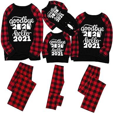 Zilosconcy Pijamas Navideños Familiares Conjunto Pantalon y Top Pijamas Mujer Hombre Manga Larga Pijama 2 Piezas Pijama Navidad