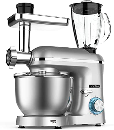 Homlee1800W Robot de Cocina Multifunción, Batidora Amasadora Reposteria, Picadora, Licuadora de vidrio, 5.5L Tazón De Acero Inoxidable,Plata: Amazon.es: Hogar