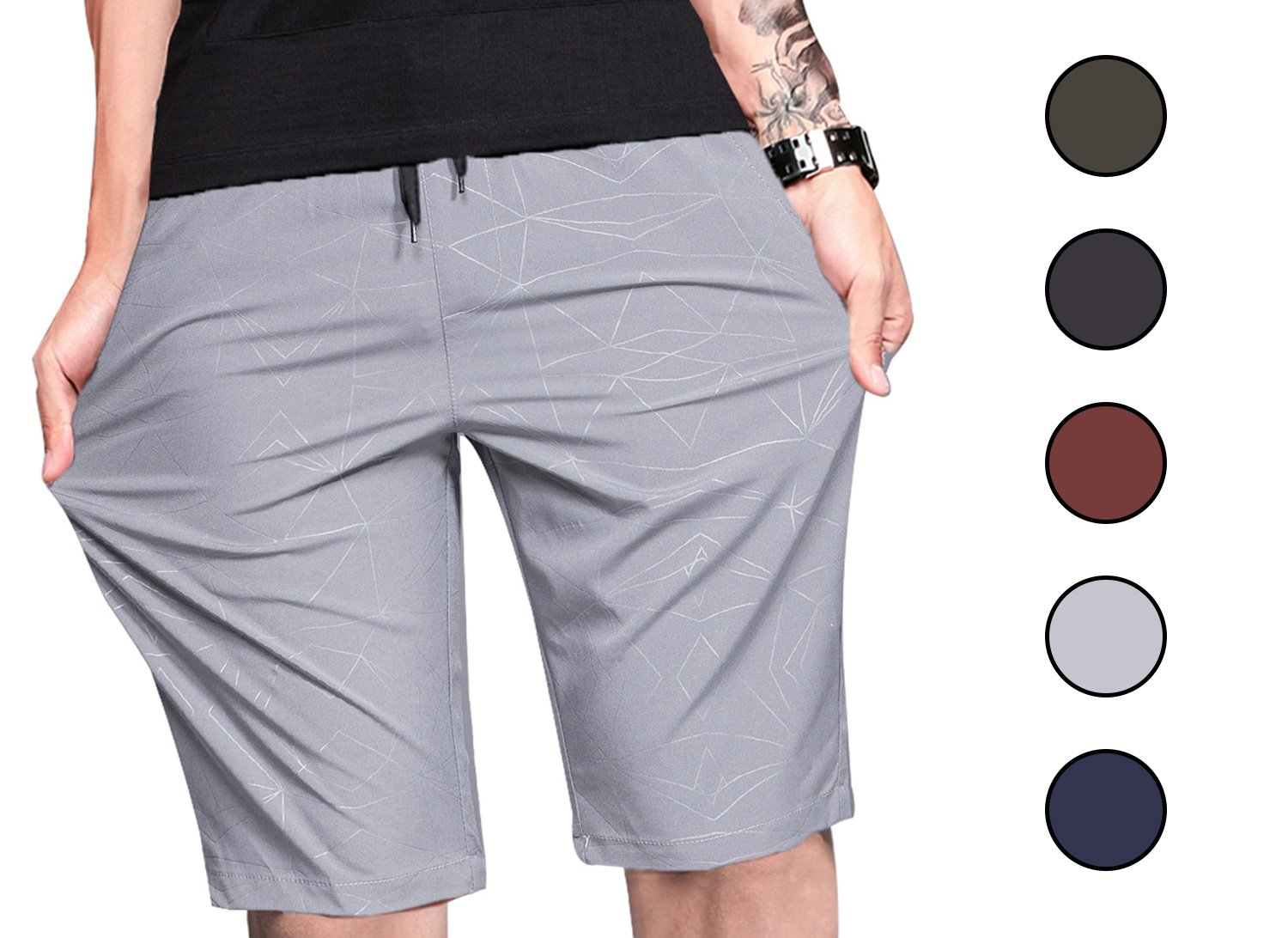 LTIFONE Mens Shorts Gym Training Bodybuilding Exercise Shorts Lightweight Quick Dry Spandex Mens Active Workout Shorts Athletic Summer Shorts(Grey,L)