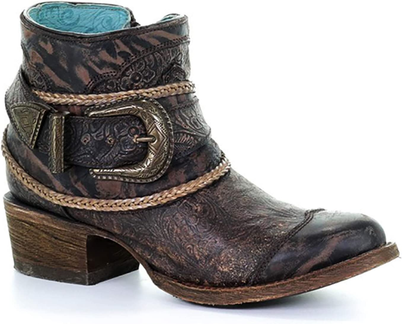Corral Womens Floral Embossed Strap Round Nose Frances Boots