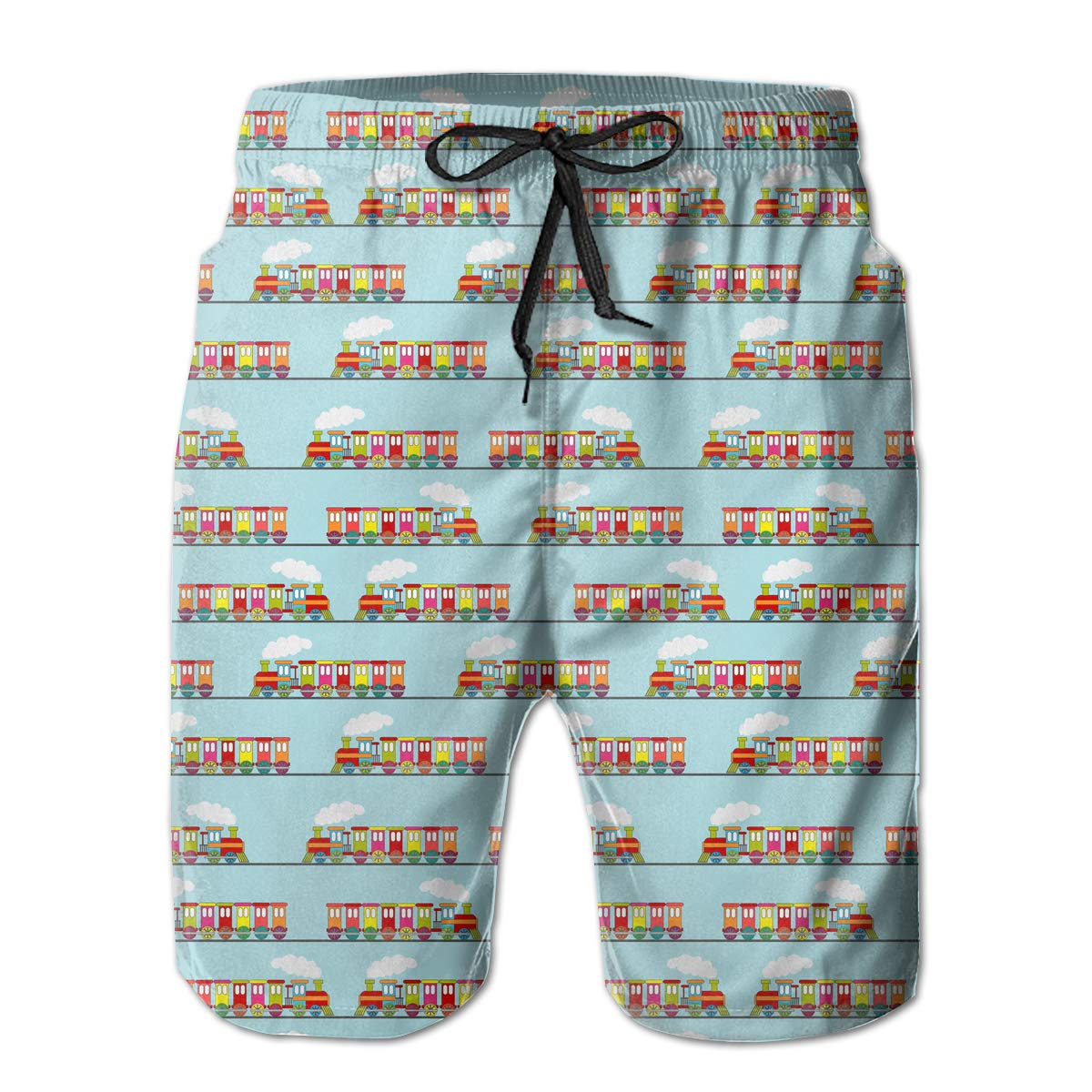 UHT28DG Cute Train Pattern Mens Beach Board Shorts Printing Bathing Suit