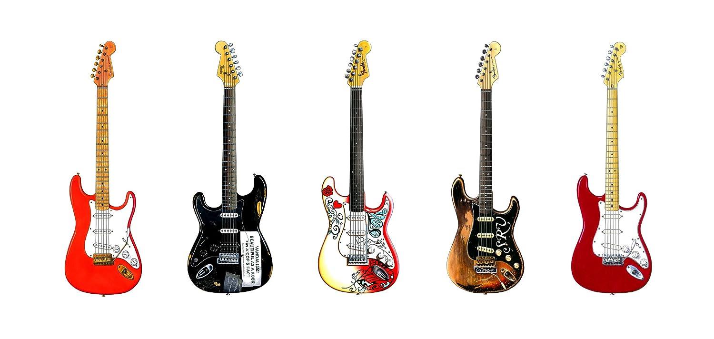 DL size Kurt Cobain/'s Vandalism Stratocaster Greeting Card