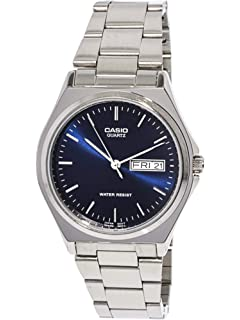 Casio Mens MTP1240D-2A Silver Stainless-Steel Quartz Watch with Blue Dial