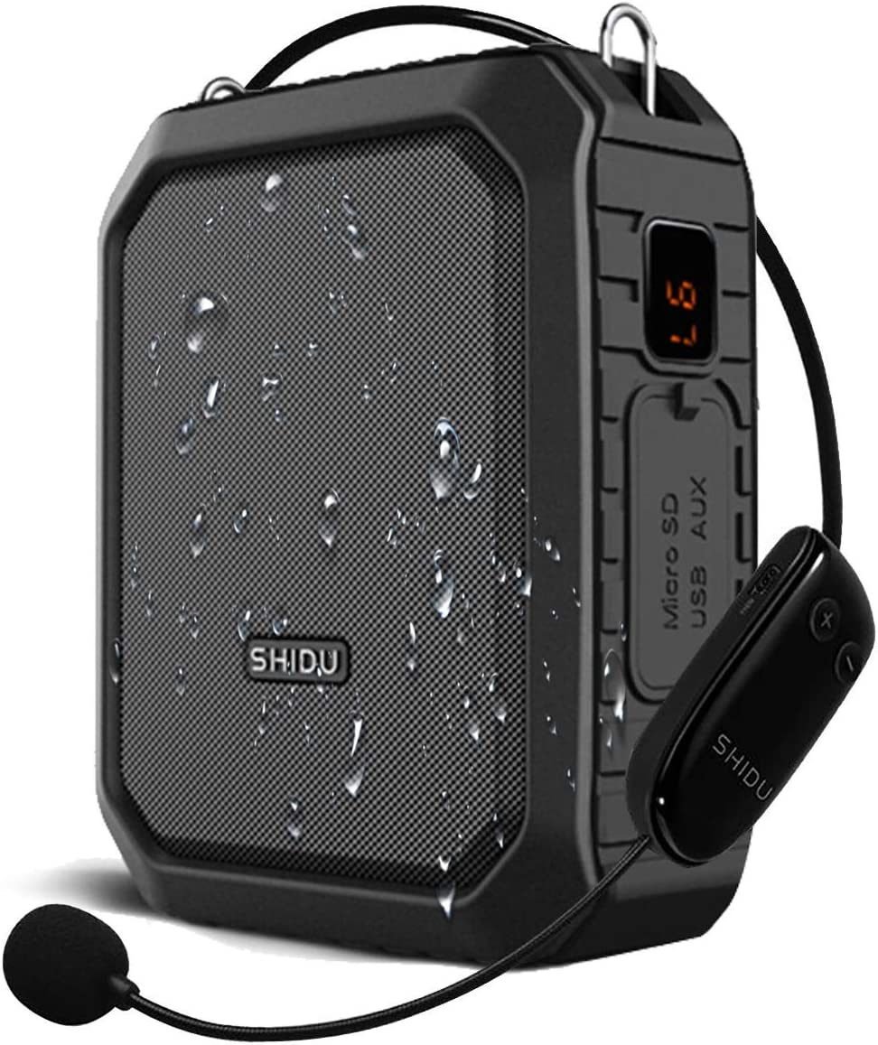 SHIDU 18W Amplificador de voz inalámbrico Sistema PA impermeable con micrófono inalámbrico UHF Altavoz Bluetooth para aula al aire libre Guía turístico
