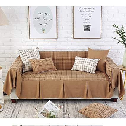 Amazon.com: Lovehouse Cotton Linen Sofa Cover,Simple Lattice Sofa ...