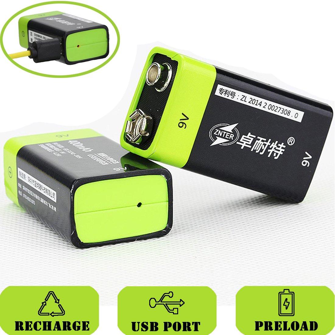 SOEKAVIA Batería de 9 V Prismatic Micro USB integrado polímero de litio recargable con cable USB (Negro + Verde) 2PCS: Amazon.es: Electrónica