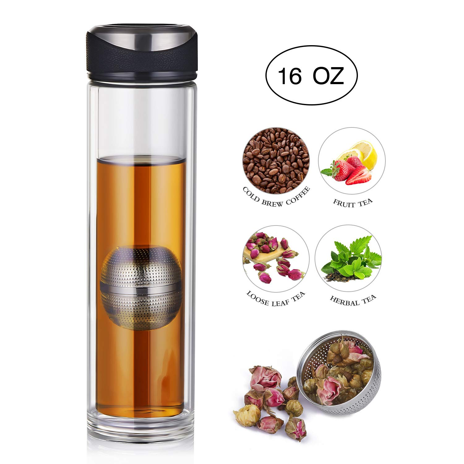 YEOSEN Tea Infuser Bottle - Magnetic Tea Tumbler with Tea Infuser - Leakproof Tea Bottle for Loose Leaf Tea - Double Wall Glass Tea Infuser Travel Mug for Hot or Cold Water 16oz by YEOSEN