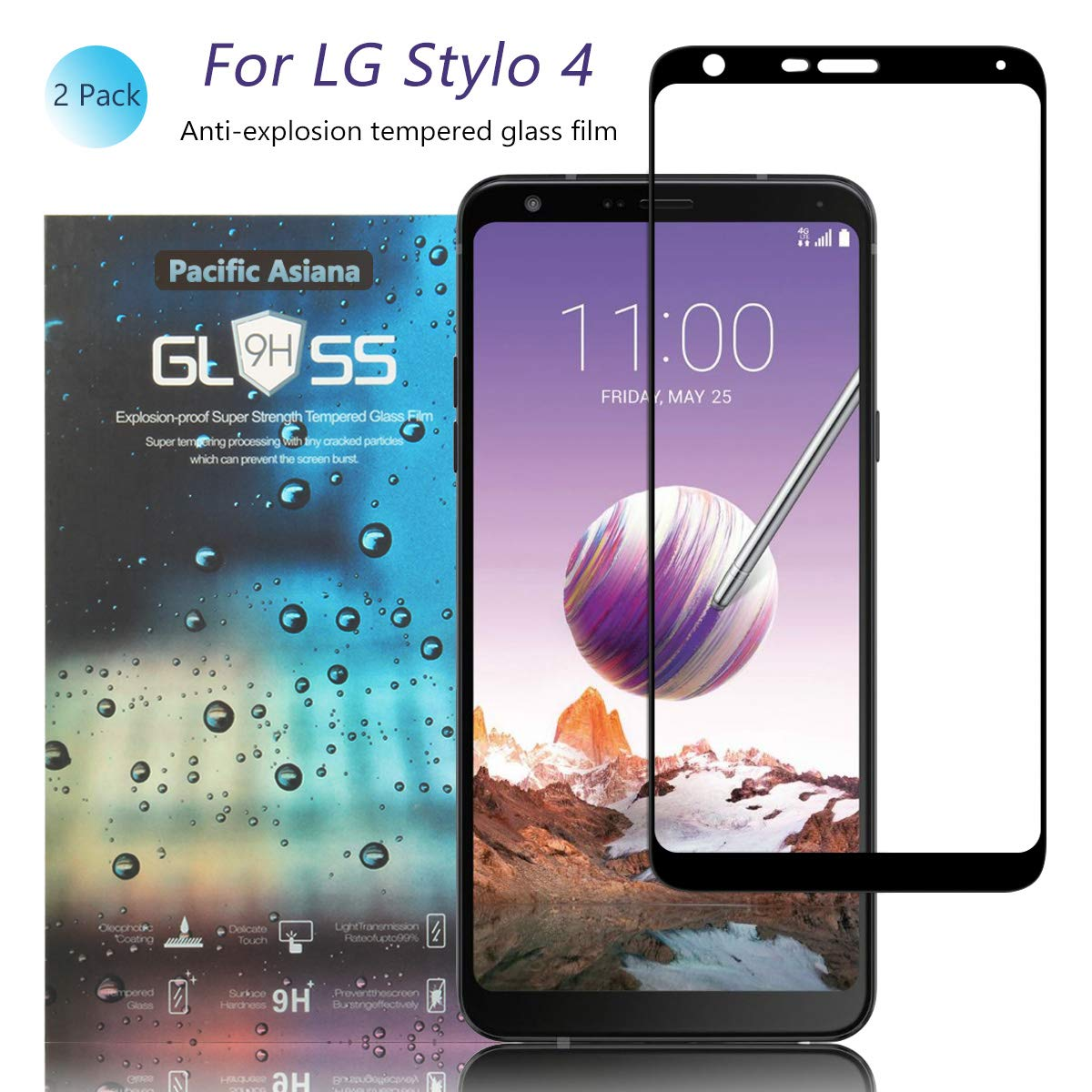 Pacific Asiana Screen Protector Compatible for LG Stylo 4/LG Q Stylo 4 Q710MS, Ultra Thin HD Clear Ballistic [9H Hardness][Anti-Scratch][Bubble-Free][Case Friendly] Tempered Glass Replacement(2-Pack)