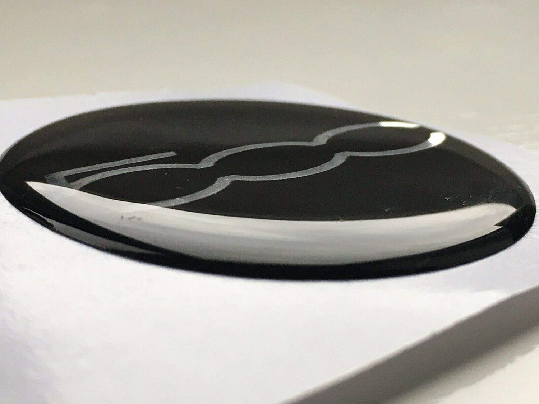 50MM SCOOBY DESIGNS FIAT 500 595 POP SPORT ALLOY WHEEL CENTRE CAP STICKERS DOMED X4 BLK CHROME