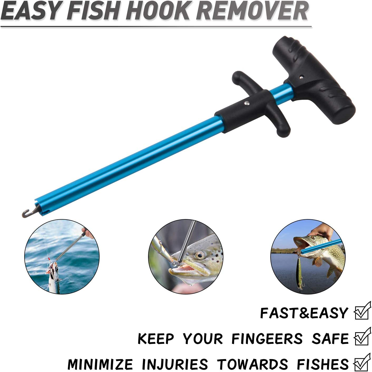 2Pcs Fishing Tackle Fish Hook Remover Detacher Safety Quickly Extractor LE