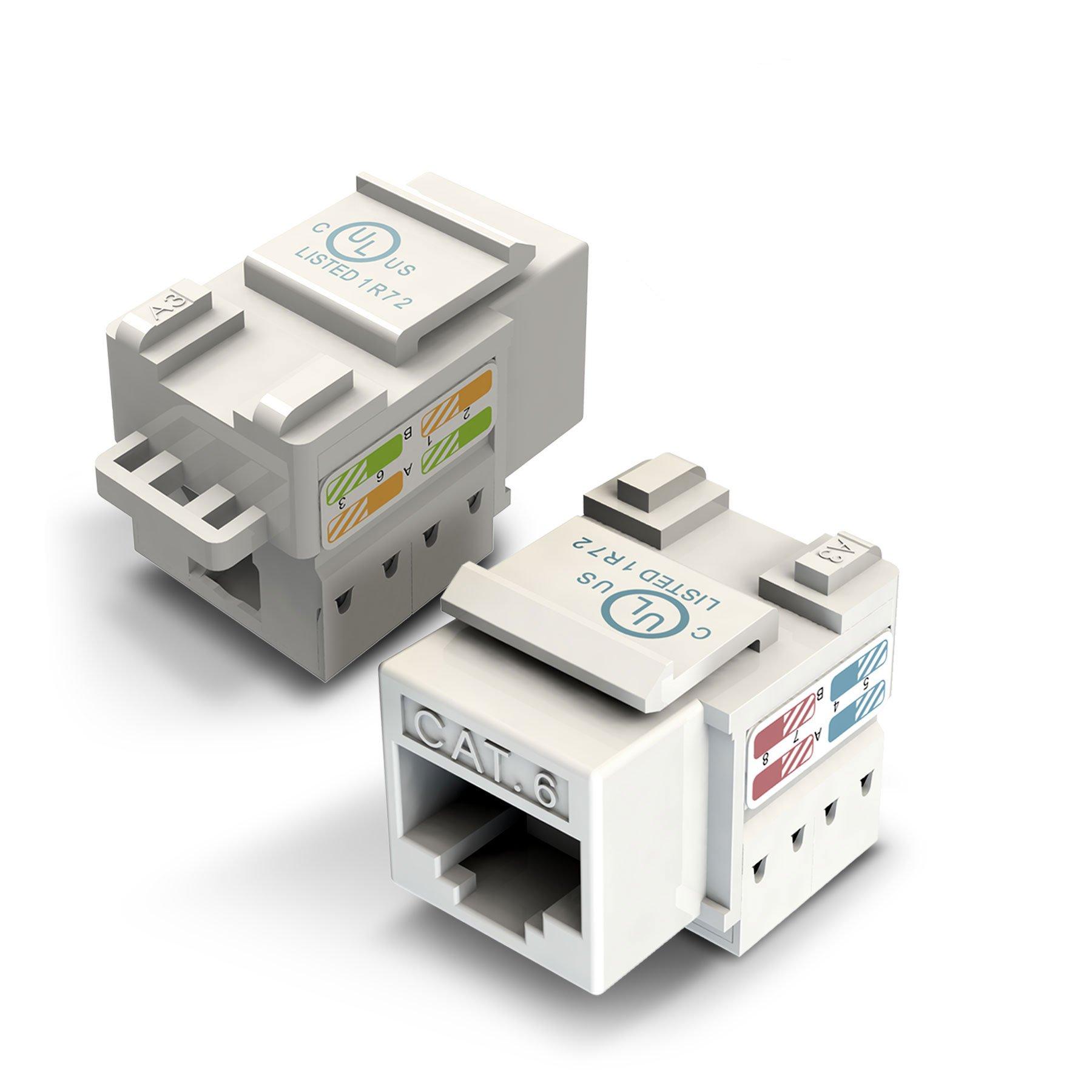GearIT 50-Pack Ethernet Keystone, Cat6 RJ45