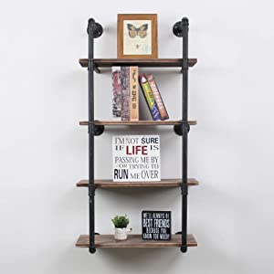 Industrial Floating Shelves Wall Mount,24in Rustic Pipe Wall Shelf,4-Tiers Wall Mount Bookshelf,DIY Storage Shelving Floating Shelves,Wall Shelving Unit,Wall Book Shelf for Home ,Black Brushed Silver