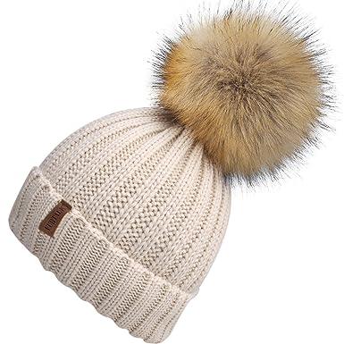8d800796506 YANIBEST Womens Ladies Girls Crochet Knit Knitted Hat with Pom Pom Bobble  Winter Warm Beanie Hat