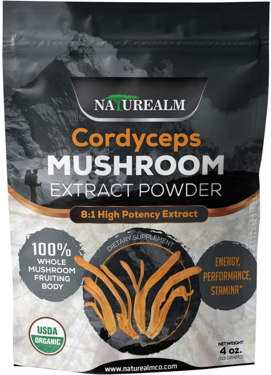Cordyceps Mushroom 8 1 Extract Powder – USDA Certified Organic – High Performance Energy Supplement – Stamina, Endurance, Oxygen Utilization – Whole Mushrooms No Fillers – 4oz 113g