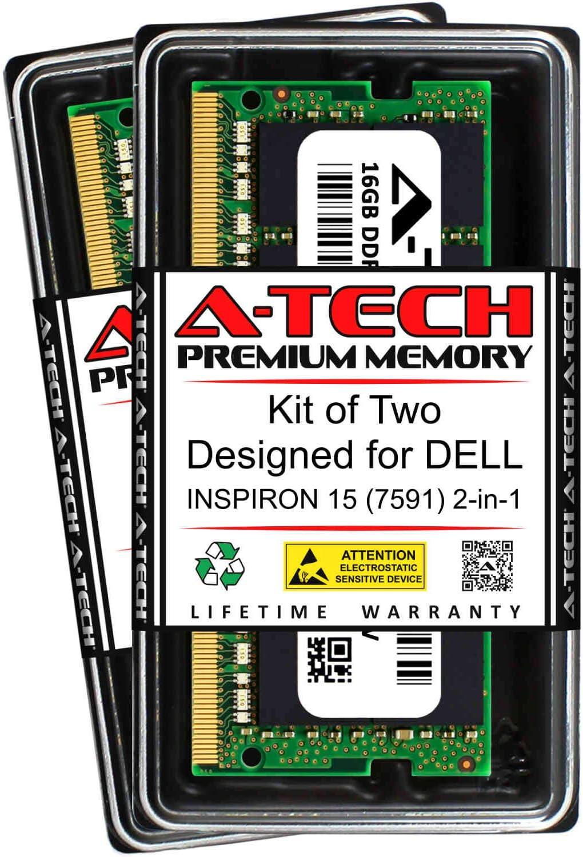 A-Tech 32GB (2 x 16GB) RAM for DELL INSPIRON 15 (7591) 2-in-1 | DDR4 2400MHz SODIMM PC4-19200 260-Pin Non-ECC Memory Upgrade Kit