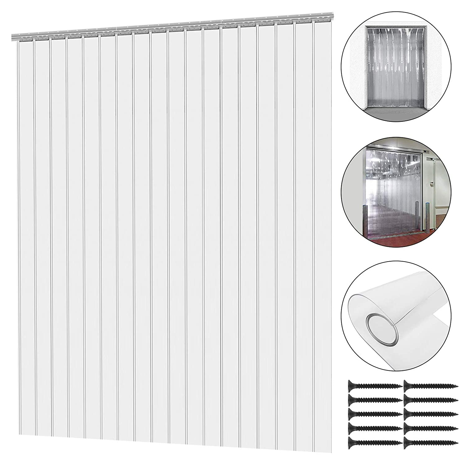 Mophorn 12PCS Plastic Curtain Strips 82.6 Inch Height X 6 Inch Width Strip Door Curtain 0.078 Inch Thickness Clear Curtain Strip 50% Overlap for 4' X 7' Doors