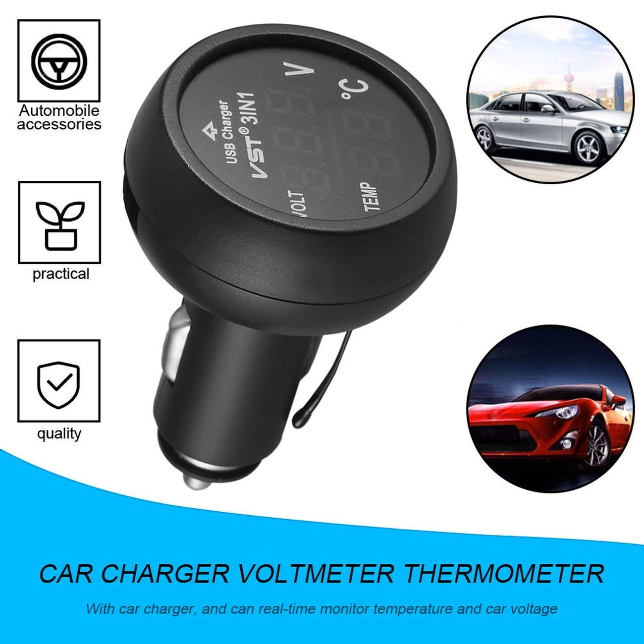 Fannty 3 en 1 num/érique LED USB Chargeur de voiture Voltm/ètre Thermom/ètre Moniteur de batterie de voiture
