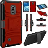 Note Edge Case, EC™ Hybrid Shockproof Kickstand Holster Case Cover with Belt Clip for Samsung Galaxy Note Edge (Red/Black)