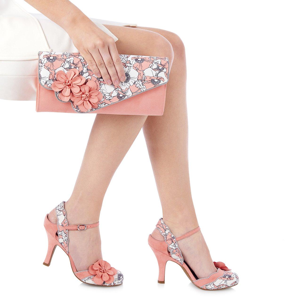 Ruby Shoo Women's Peach Floral Heidi Fabric Slingback Pumps & Rio Bag UK 5 EU 38 by Ruby Shoo (Image #5)