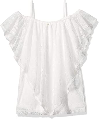 White Clay a GUESS Big Girls Short Sleeve LACE Overlay TOP Shirt 7