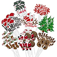 Amosfun 72PCS Christmas Cupcake Toppers Cake Decoration Santa Claus Tree Snowman Sock Candy Theme Party Cake Toppers…