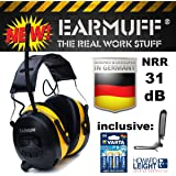 """-31dB """"EARMUFF"""" Casque de chantier anti-bruit avec tuner radio FM AM intégré et prise AUX + clip de ceinture et 4piles Varta"""
