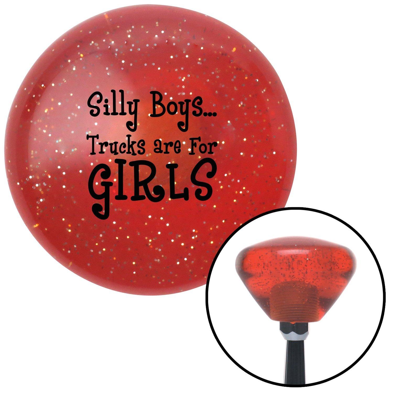 Black Silly Boys.Trucks are for Girls American Shifter 28813 Orange Retro Metal Flake Shift Knob