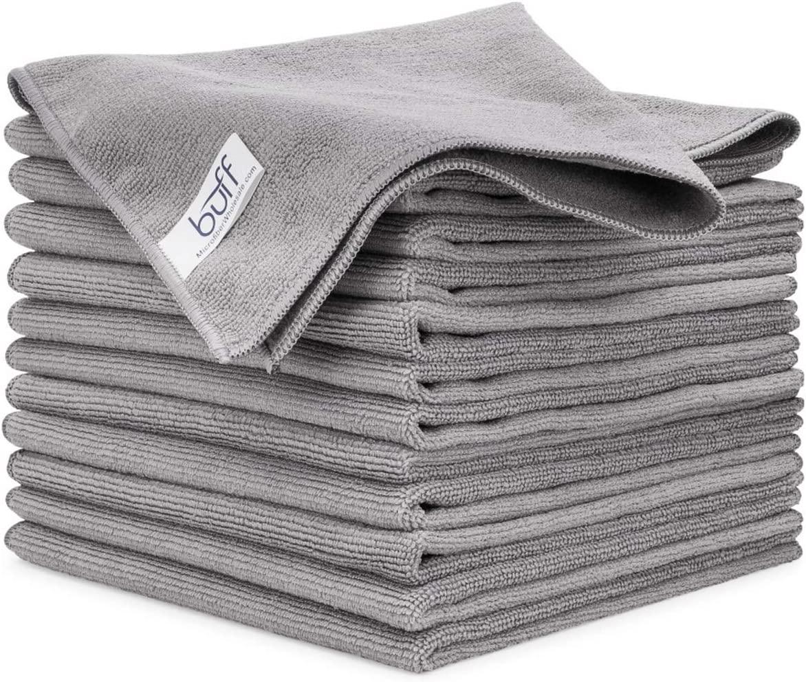 Dust | Size 16 x 16 Absorbent/ All Purpose Use Clean 12 Pack Buff Microfiber Cleaning Cloth Gray Polish Scrub