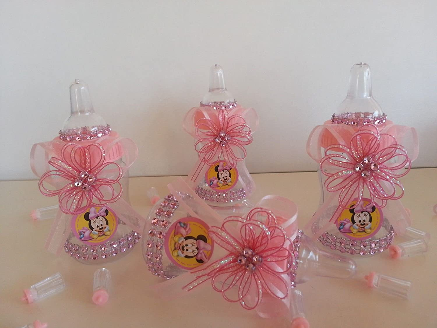 Amazon.com: 12 Minnie Mouse Rosa fillable Botellas Baby ...