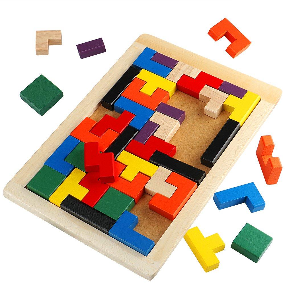 Toyssa Wooden Tetris Puzzles Brain Teaser Preschool Educational Toy Board Games for Kids 40 Pieces