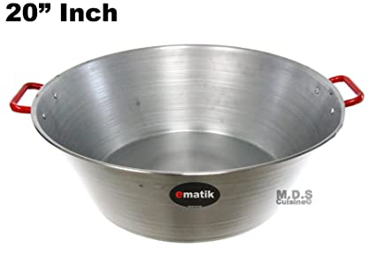 "Ematik Cazo Para Carnitas 20"" Galvanized Steel with Two Handles Heavy Duty Wok Gas Stove Burner Acero Inoxidable"