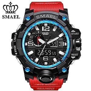 RELOJ SMAEL PARA HOMBRES - digital de cuarzo analógico deportivo, Relojes digitales a prueba de agua con retroiluminación LED relogio masculino (rojo negro)