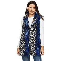 ANNA&CHRIS Womens Soft Sleeveless Faux Fur Vest Gradient Waistcoat Jacket