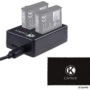 CamKix Cargador Compatible con para GoPro Hero 5 Baterias (AABAT-001) – Carga rápidamente hasta 2 baterias GoPro Hero por Medio de USB C o Micro USB – ...