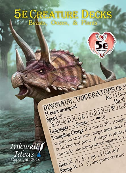 Inkwell Ideas 5e Creature Decks: Beasts, Oozes and Plants
