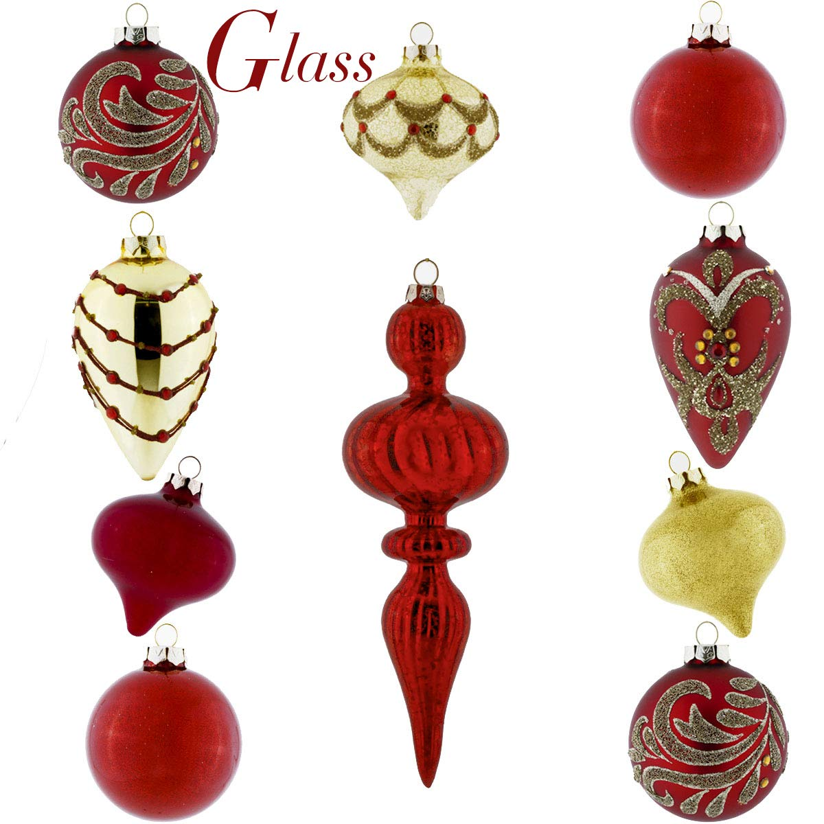 Valery Madelyn 10ct Luxury Glass Christmas Ball Ornaments Red Gold, 3.15inch-4.72inch,Themed Tree Skirt(Not Included) EG0106-0003