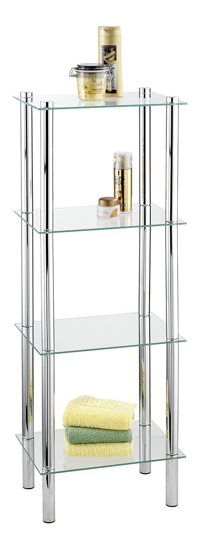 Wenko 15853100 Exclusiv scaffale per il bagno e la casa Yago - 4 ripiani in vetro, Acciaio, 40 x 104 x 30 cm, Cromo