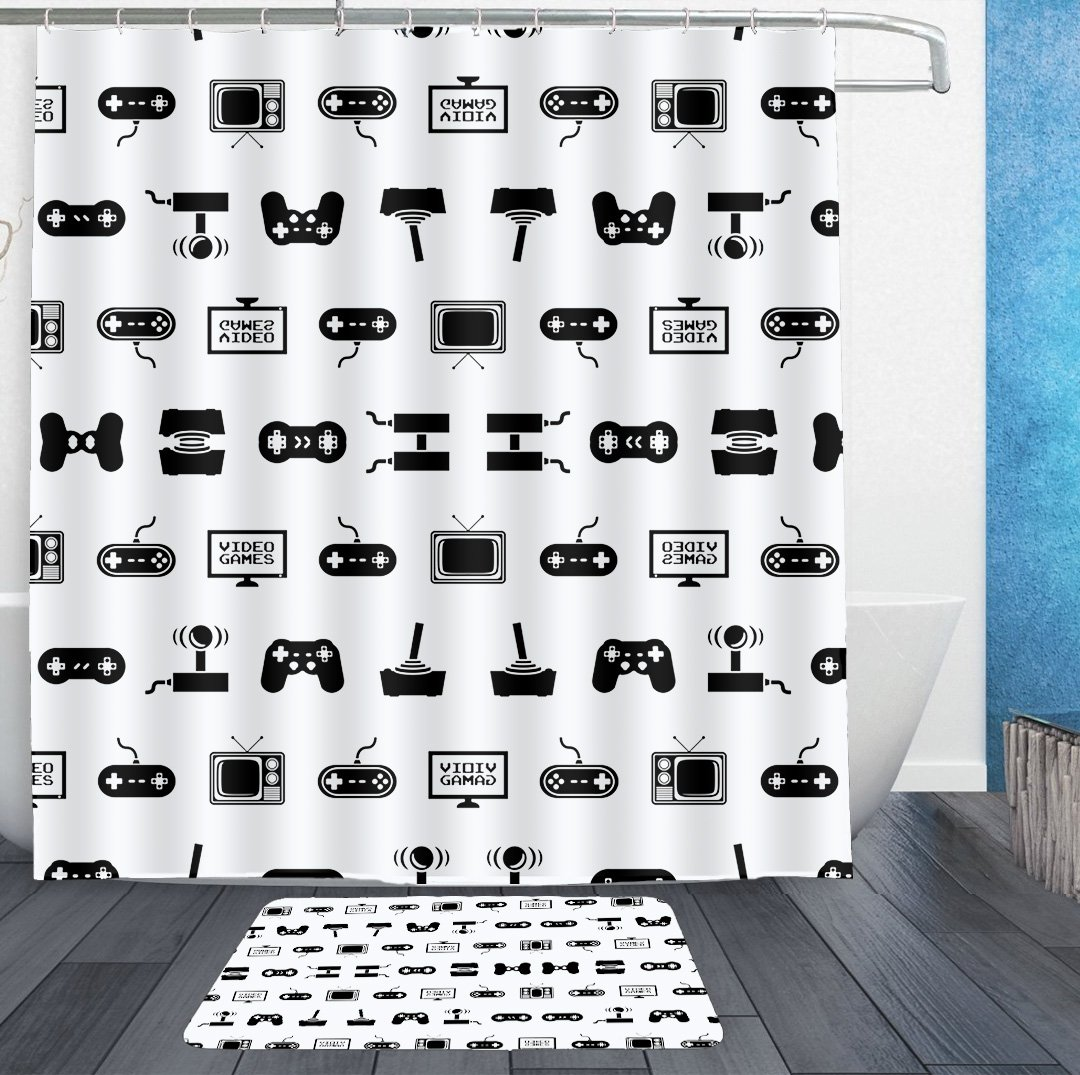 HOMESTORES Video Games Shower Curtain Liner With Hooks and bath rug mat - Mildew Resistant Waterproof Polyester Fabric Bathroom Decor Set - 72x72/16x24