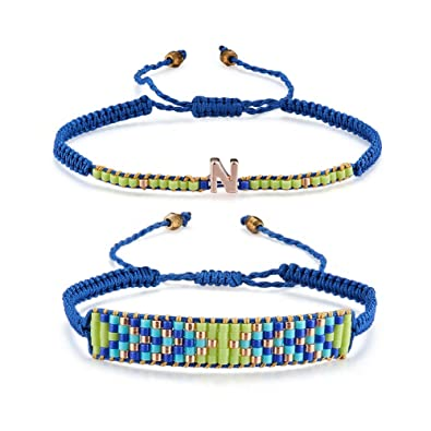 5b3c21fddec Craftdady 2pcs/Set Fashion Bohemia Style Handmade Blue Adjustable Braided Seed  Beads Letter N Nylon