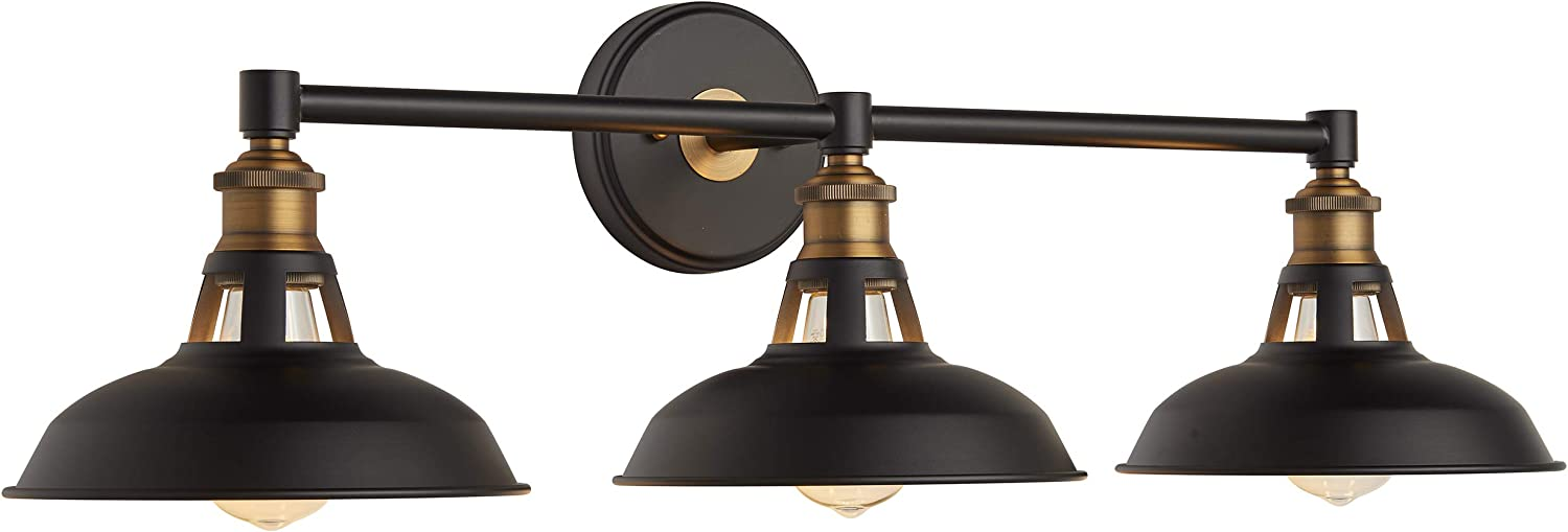 Olivera 3 Light Bathroom Vanity Lights Black And Brass Industrial Wall Sconce With Led Bulbs Ll Wl883 7sbk Amazon Com