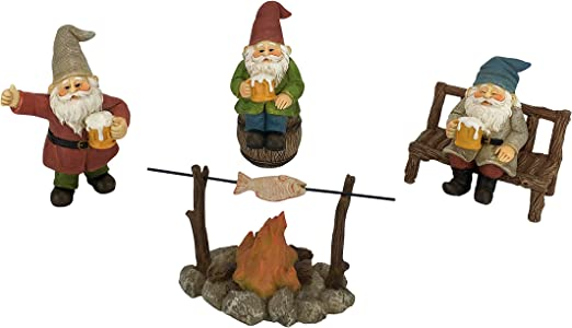 Gnomos Felices Cerveceros – Set de 5 piezas de Gnomos de Jardín para Jardines de Hadas en Miniatura: Amazon.es: Hogar