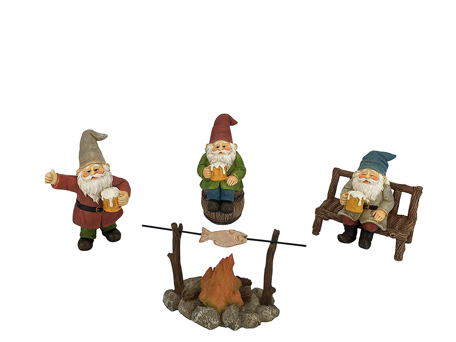 GlitZGlam Happy Gnomes Beer Drinking Buddies! - 5-Piece Garden Gnome Set for The Miniature Fairy Garden