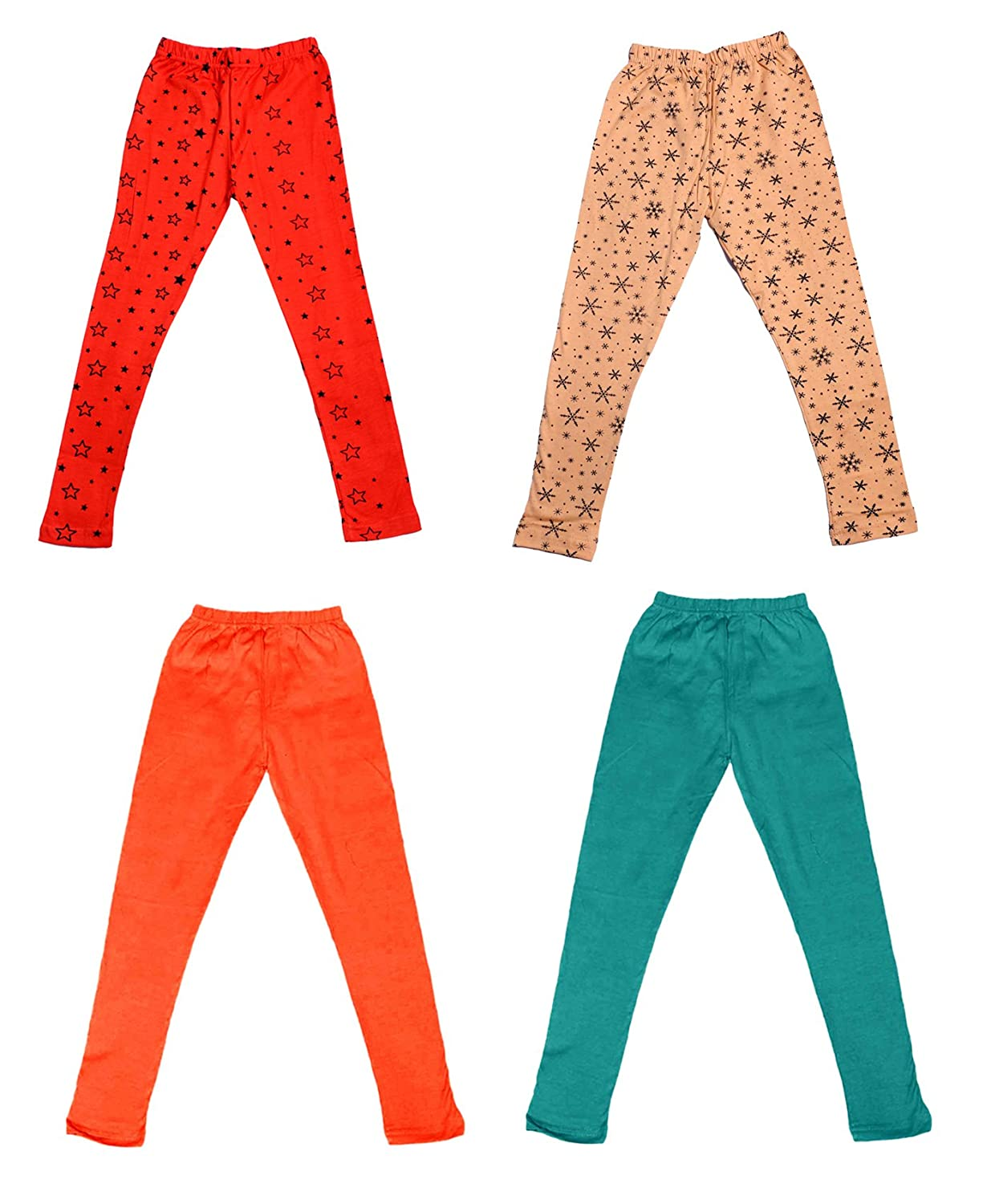Pack Of 4 /_Multicolor/_Size-5-6 Years/_71414151619-IW-P4-28 and 2 Cotton Printed Legging Pants Indistar Girls 2 Cotton Solid Legging Pants