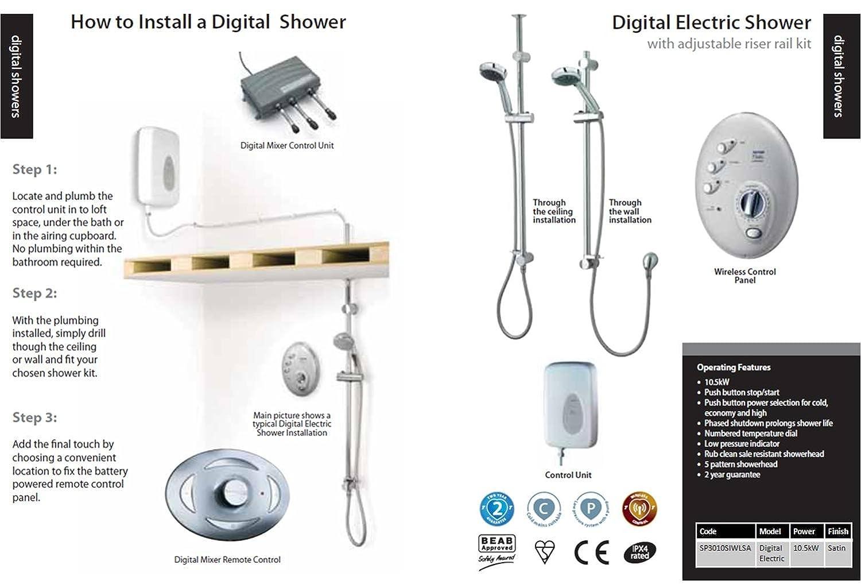 Triton T300si Wireless Electric Shower   Satin: Amazon.co.uk: DIY U0026 Tools