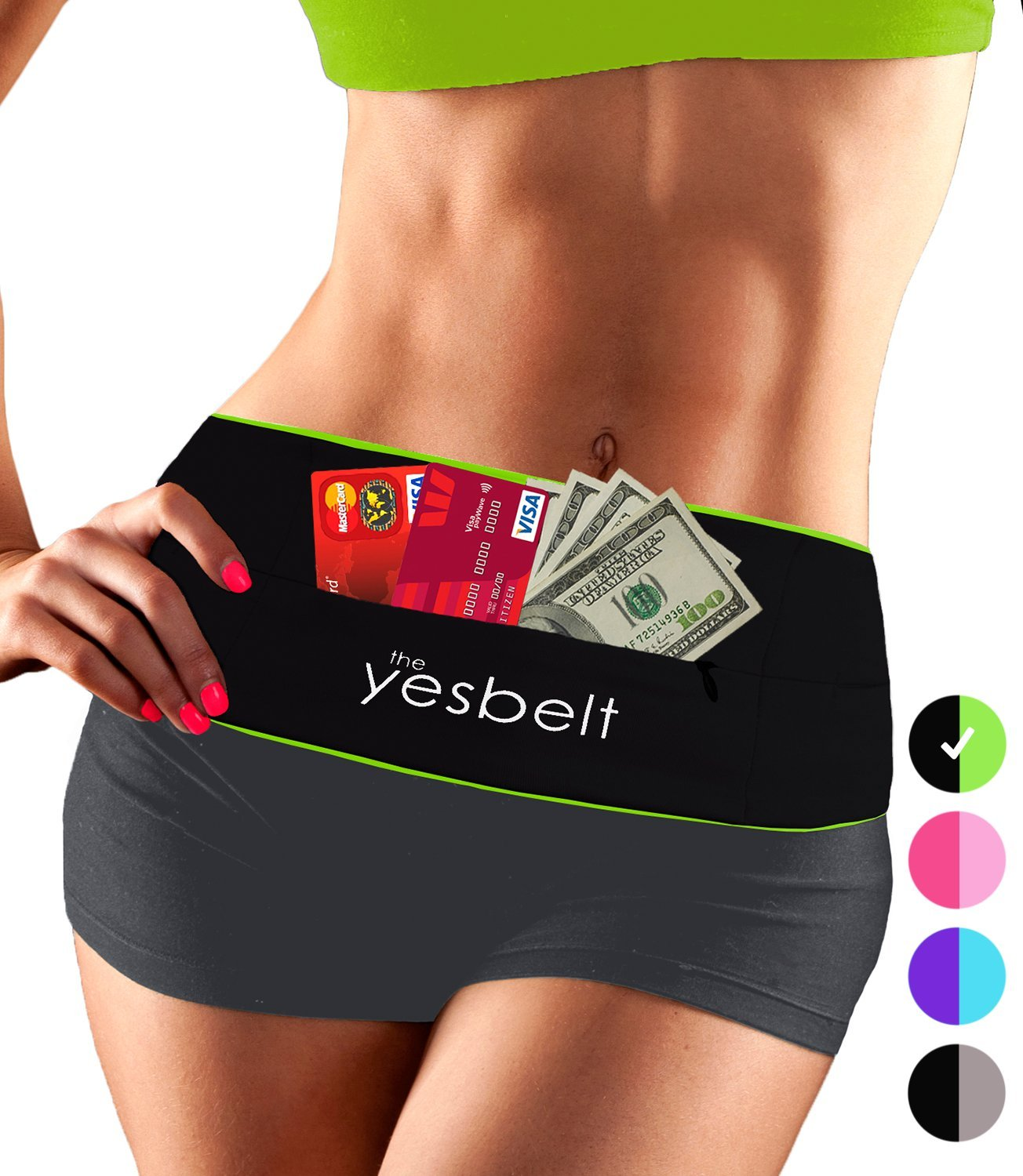 YesBelt #1 Reversible Running Belt and Waist Pack w Zipper - Better Than Cell Phone Sports Armband - iPhone 6 Plus - Best Travel Money Belt - Stylish Fitness Zip 'n Flip Band for Workout - Lime L