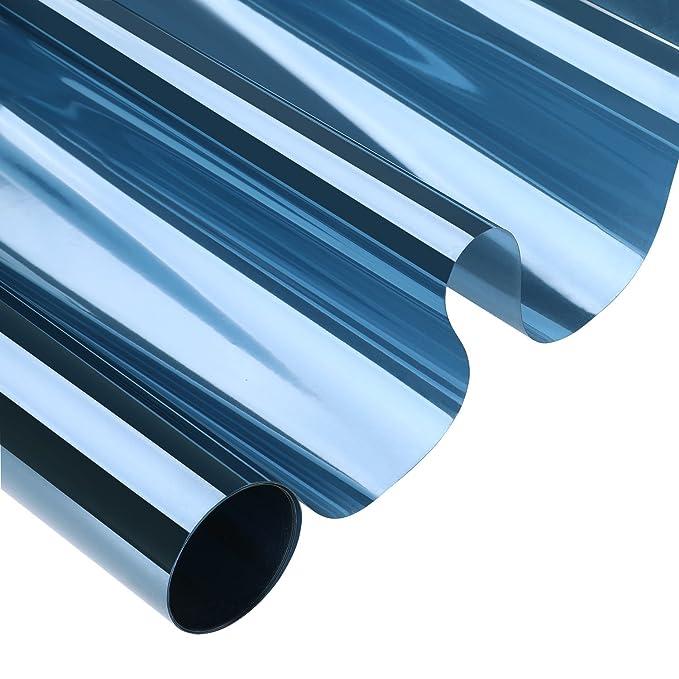 KINLO 75cm x 300cm Transparent-blau Sonnenschutzfolie fu?r Fenster Sichtschutz und Hitzeschutz blockt 99% der UV-Strahlen Fen