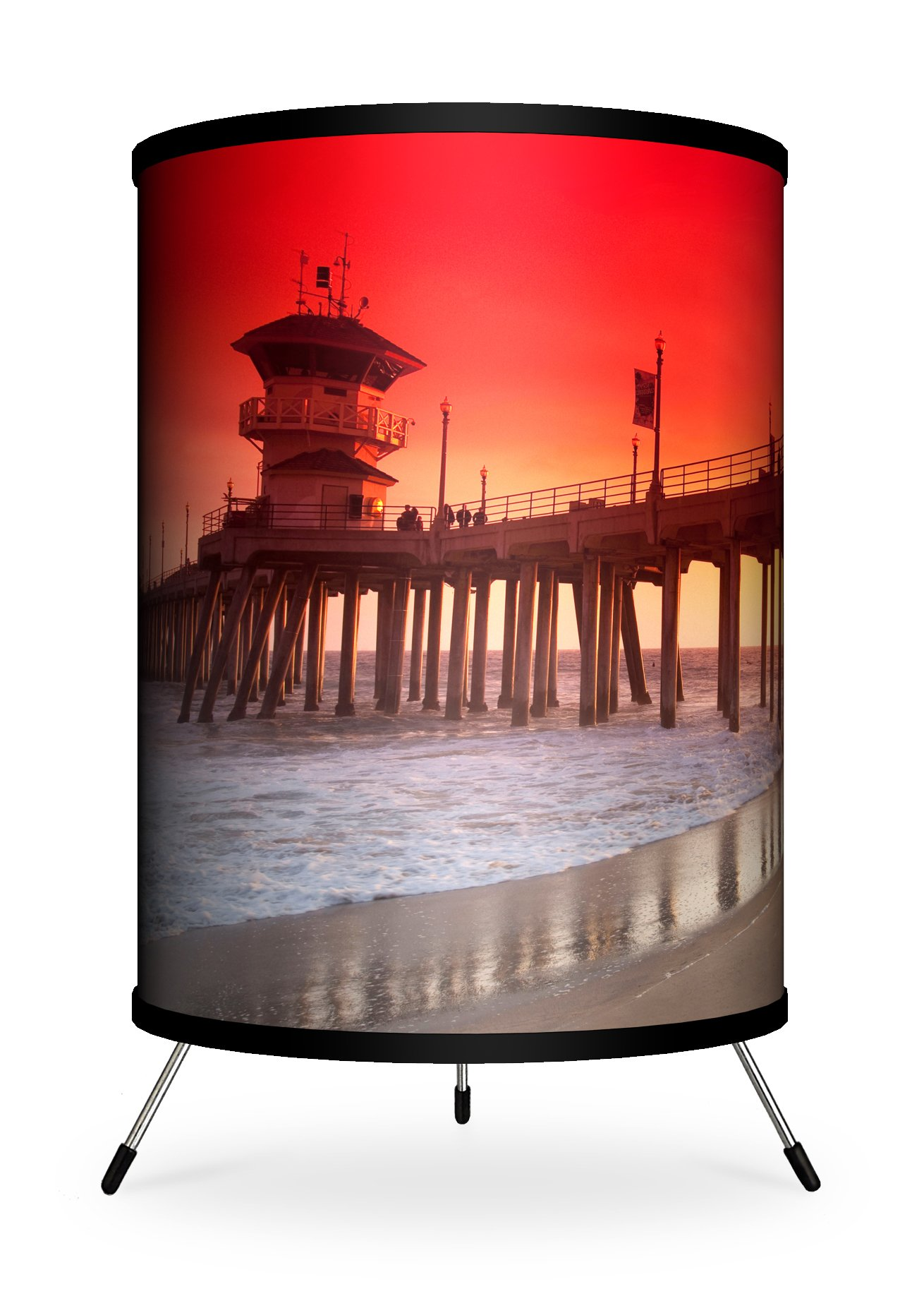 Lamp-In-A-Box TRI-FAR-SDHU5 Beach and Coastal Photography - Looking Over Huntington Pier and Lifeguard Tower Lamp